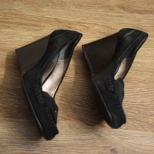 COACH Black Suede Nela Wedge Loafers